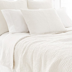 Pine Cone Hill - seychelles quilt (dove white) - Escape to a serene cottage getaway and slip beneath the perfectly patterned covers of our strawberry hill collection featuring delicate pastels, soft linens and casually embellished pillows blending unique patterns and textures with soothing colors in subtle, comforting harmony.  Florals and paisley, pale solids and subtle dots soften the plush appearance of our duvet covers, quilts and shams to create a well-tailored bedroom.