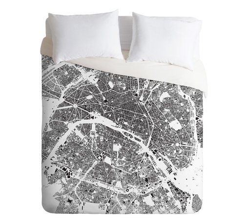 DENY Designs - CityFabric Inc Paris White Duvet Cover - Turn your basic, boring down comforter into the super stylish focal point of your bedroom. Our Luxe Duvet is made from a heavy-weight luxurious woven polyester with a 50% cotton/50% polyester cream bottom. It also includes a hidden zipper with interior corner ties to secure your comforter. it's comfy, fade-resistant, and custom printed for each and every customer.