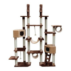 "Kitty Mansions - 75-92"" Rome Cat Tree in Brown and Beige - Rome Cat Furniture is a thing of beauty. This magnificent structure has it all: 12 platforms, 2 bedrooms, 2 tunnels, two ropes to climb up, and a bridge to get from one side to the other, a ladder, and scratching posts everywhere! This is the furniture of your cat's dreams. Features: -Cat tree.-Made of thicker plush fabric.-Sides fold in to fit into smaller spaces.-Gives cats their own area to call home.-Plenty of scratching posts to stop cats from destroying furniture.-Multiple platforms ensure that even the pickiest cats will be happy.-Great for multiple cats or one lucky cat.-Non-toxic materials ensure your cat stays healthy.-Easy to assemble.-High quality construction gives a longer lifespan.-Color: Brown and beige.-Distressed: No.Dimensions: -Dimensions: 75'' - 92'' H x 56'' - 80'' W x 18'' D.-Overall Depth - Front to Back: 18.-Overall Product Weight: 100 lbs."