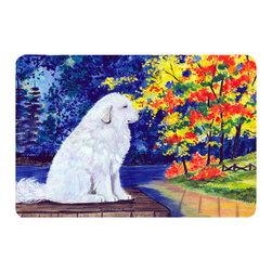 Caroline's Treasures - Great Pyrenees Kitchen or Bath Mat 24 x 36 - Kitchen or Bath Comfort Floor Mat This mat is 24 inch by 36 inch. Comfort Mat / Carpet / Rug that is Made and Printed in the USA. A foam cushion is attached to the bottom of the mat for comfort when standing. The mat has been permanently dyed for moderate traffic. Durable and fade resistant. The back of the mat is rubber backed to keep the mat from slipping on a smooth floor. Use pressure and water from garden hose or power washer to clean the mat. Vacuuming only with the hard wood floor setting, as to not pull up the knap of the felt. Avoid soap or cleaner that produces suds when cleaning. It will be difficult to get the suds out of the mat.
