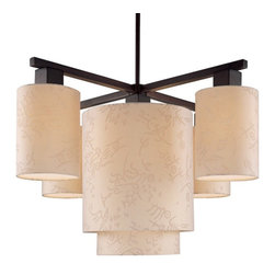 George Kovacs - Kimono 5-Light Chandelier - Simple and fancy at the same time, this 5-light fixture is a modern twist on the chandelier. Beige silk shades diffuse and soften light, making it ideal for your entryway or above the dining table.