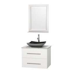 """Wyndham Collection - Centra 30"""" White Single Vanity, White Carrera Marble Top, Black Granite Sink - Simplicity and elegance combine in the perfect lines of the Centra vanity by the Wyndham Collection. If cutting-edge contemporary design is your style then the Centra vanity is for you - modern, chic and built to last a lifetime. Available with green glass, pure white man-made stone, ivory marble or white carrera marble counters, with stunning vessel or undermount sink(s) and matching mirror(s). Featuring soft close door hinges, drawer glides, and meticulously finished with brushed chrome hardware. The attention to detail on this beautiful vanity is second to none."""