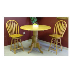 Sunset Trading - 3 Pc Drop Leaf Café Table Set (Light Oak) - Finish: Light OakIncludes table and 2 barstool. Sunset Collection. Solid handcrafted hardwood. Round drop leaf café height table. Café table height pedestal base. Accommodating 2-4 people. 42 in. Dia. round table with two 10 in. L drop leafs. Windsor style, comfort back barstool with swivel seat. Curved back support. Scooped seat. Steel reinforced turned legs. 24 in. Seat height. Assembly required. 1-Year manufacturer's warranty. Café table: 42 in. Dia. x 36 in. H (73.20 lbs.). Barstool: 19.50 in. W x 19 in. L x 44 in. H (24.25 lbs.)This beautifully designed furniture will assure you many years of use and enjoyment.