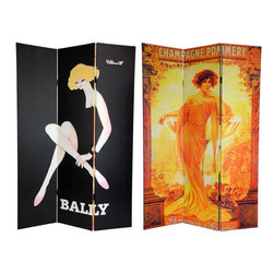 Oriental Furniture - 6 ft. Tall Double Sided Vintage Women Canvas Room Divider - This chic room divider features another stunning pair of images from our series of turn of the century art deco/art nouveau posters. The front is a fetching advertisement for Bally Shoes by Bernard Villemot. It stylishly depicts a beautiful woman emerging from a shadowy black background, revealing only the her hair, the exposed skin of her crossed legs, and her face. On the back is a majestic image in classic art nouveau style of a beauty in a flowing gown, bathed in golden sun light. These powerful, eye-catching vintage poster art prints provide attractive interior design elements for your living room, bedroom, dining room, or kitchen. This three panel screen has different images on each side, as shown.