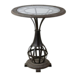 Kowalski Brothers - Kowalski Brothers Honi Traditional Accent Table X-22342 - Antiqued metal clock framework with weathered fir wood tabletop inset with clear tempered glass.