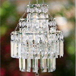 White Anywhere Crystal Pendant, Medium - Now this is how you make grilling more feminine! Just add a beautiful battery-operated crystal light fixture to your patio or deck, and you will bring a touch of elegance to your outdoor space.
