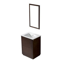 """Vigo Industries - Vigo 24"""" Saba Single Bathroom Vanity with Mirror - Wenge - Constructed of solid wood, the Saba features a white porcelain sink and a wood-rimmed mirror. This is a simple, sleek addition to a modern bathroom. This durable Vigo vanity was constructed with you in mind. No other brand can match Vigo's style, quality and design.The VIGO Saba Vanity features a white, ceramic sink and a wood-rimmed mirror and includes push to open and push to close cabinet door hardware. It features 2 doors without handle, operated by pushing on the door to release lock (open) and lock the door (close) in its place. The cabinet is made of a quality constructed engineered wood with wood veneers in a wenge horizontal grain finish, which consists of an anti-scratch paint surface for enhanced durability and frequent use. Features Includes white porcelain sink Includes solid brass, chrome-plated drain assembly Includes 2 doors with push to open and close features Includes matching mirror All mounting hardware included 5 Year Limited Warranty Pre-drilled for a single hole faucet Faucet NOT included No assembly required Vanity is fabricated for freestanding installation with all mounting hardware included Cabinet is shipped assembled How to handle your counter View Spec Sheet"""