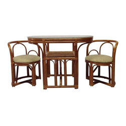 Pre-owned Vintage Rattan Dining Set - This adorable rattan dining set is perfect for small spaces! The seats tuck compactly all the way under the table. The upholstery, rattan and glass are all in excellent condition and the lower shelf provides extra storage!     Tweed is a vintage furniture and home décor studio that focuses on high quality authentic Mid-Century pieces that can be restored, refurbished, or updated to reflect a modern eclectic style