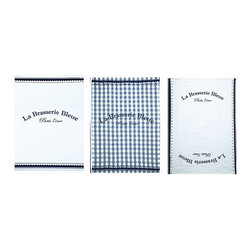 Brasserie Bleue Kitchen Towels - Set of 3 - Wonderful blue and white kitchen towels in a coordinated trio add clean charm to your cooking space.  Gingham and solid white designs with sweet scalloped edging are lent a graphic touch by the Brasserie Bleue design which conveys European boldness to this Parisian-inspired necessity.  A perfect housewarming gift, these towels are lovely on display.