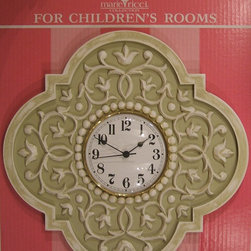 """Children's Clocks - Mediterranean Vine clock by Marie Ricci. Shown in distressed pale olive. 18"""" diameter with 6"""" clock face. Ships within two weeks, free shipping within Cont. US. Available in 18 designer colors or send me your paint. www.mariericci.com $200"""