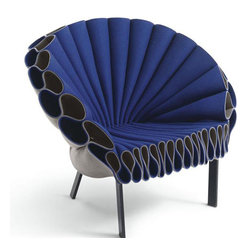 Peacock Chair - Armchair realized with crumpled sheets of felt, one-colour (green or blue) or double-colour (green and blue coupled with grey colour). Base in metal, powder varnished in dark brown colour. Double-colour felt can be used leaving on front side both the coloured surface and the grey one.