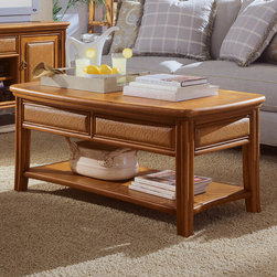 """Hammary - Antigua Cocktail Table - """"A casual group with sophisticated coastal & tropical influences. Rattan drawer & door fronts with brass colored hardware add simple beauty to this collection. Crafted of Primavera Veneers & Select Hardwoods in a Toasted Almond Finish"""