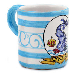 Artistica - Hand Made in Italy - PALIO DI SIENA: ONDA (Wave-Dolphin) Mug - The ''Palio di Siena'' is a tournament as a replica of a medieval horse race which is ran twice year, during the summer season, in the city of Siena, located in the beautiful Tuscany region.