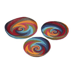 Khari Oversized Trays - Set of 3 - The shallow Khari bowl shaped trays are expertly woven from paper rope with boldly colored graphic swirl patterns.