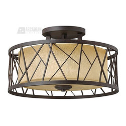 Fredrick Ramond - Fredrick Ramond FR41622ORB Nest Semi Flush Mount Ceiling Light - Nest finds its inspiration from patterns found in nature. This contemporary chandelier collection conveys an organic modern elegance in an Oil Rubbed Bronze finish complemented by distressed amber etched glass.