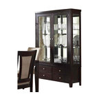 Steve Silver - Steve Silver Wilson Buffet w/ Hutch in Espresso - With display lighting, adjustable shelves and drawers for discrete storage. This tall glass-panelled buffet / hutch features a darkly stained finish. Function and form that will stand proud among any decor.  What's included: Buffet (1), Hutch (1).