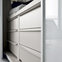 """Custom Made Closets with Sliding Doors - Contemporary closet with """"Crystal"""" sliding doors. Interior details in Milerighe finish"""