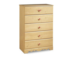 South Shore - Five Drawer Chest of Drawers w Pine Finish - Perfect in a girl's bedroom, this five-drawer chest has subtle female accents like the floral applique on the top drawer and the flower shaped porcelain drawer knobs. Chest has a pine finish, decorative kick plate and safety catches on all drawers. * Manufactured from eco-friendly, EPP-compliant laminated particle boardcarrying the Forest Stewardship Council (FSC) certificationRomantic Pine finishDecorative kickplate5 spacious drawers for storage solutionsProfiled edges on drawers and topsDecorative floral appliques on drawersPorcelain flower-shaped knobsInnovative drawer Smart Glides with liftetime warrantyChild-friendly safety catches on drawer glides. Assembly required. 47 in. H x 32 in. W x 17 in. D