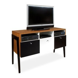 Reston TV Stand - Zebrano - The snazzy Reston TV Stand - Zebrano is a classic and practical addition to any living space. The sturdy wooden frame features a three-tone finish that boldly complements the flashy design. This entertainment center supports up to a 52-inch TV and offers a large storage bin for your entertainment needs. The space-saving design was constructed with apartments, lofts, condos and dorms in mind.About Armen LivingImagine furniture without limits - youthful, robust, refined, exuding self-expression at every angle. These are the tenets Armen Living's designers abide by when creating their modern furniture collections. Building on more than 30 years of industry experience, Armen Living combines functional versatility and expert craftsmanship into their dramatic furniture styles, all offered at price points fit for discriminating budgets. Product categories include bar stools, club chairs, dining tables, ottomans, sofas, and more. Armen Living is based in Sun Valley, Calif.