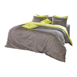 Blooming Home Decor - Grayish Brown & Lime Yellow Queen Duvet Cover Set, Queen - Give a modern feel of comfort to your bedroom with this reversible duvet cover set. On one side, a soothing grayish brown intermingles with graceful figure-8s of lime yellow, while the other side features the same pattern with reverse color scheme. This set will be paired perfectly with a bedroom that has a clean, relevant look – someone who enjoys a modern feel without sacrificing the secure feeling of home.