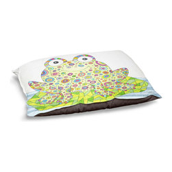 """DiaNoche Designs - Dog Pet Bed Fleece - The Cheerful Frog - DiaNoche Designs works with artists from around the world to bring unique, designer products to decorate all aspects of your home.  Our artistic Pet Beds will be the talk of every guest to visit your home!  BARK! BARK! BARK!  MEOW...  Meow...  Reallly means, """"Hey everybody!  Look at my cool bed!  Our Pet Beds are topped with a snuggly fuzzy coral fleece and a durable indoor our underside material.  Machine Wash upon arrival for maximum softness.  Made in USA."""
