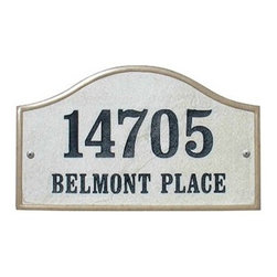 "Qualarc, Inc. - Crushed Stone Address Plaque, Verona Serpentine, Sandstone - Crushed Stone Verona Serpentine Address Plaque (Includes one line 4"" engraved numbers or text)"