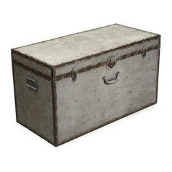 Zentique - Iron Box by Zentique - There are probably a zillion things that you could use a trunk for. The Iron Box from Zentique, with it's natural metal strapping and nail heads to the rustic latches and handle add authentic character. This trunk will double as a fabulous decorative item and a place to store some hide-always. Consider this at the end of a bed to store additional linens or pillows. Maybe place a tray on top and use as a table in your den or on your porch or patio. (ZEN)