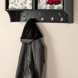 Prepac - Hanging Entryway Shelf - Perfect for townhouses and condos. Help to keep gloves, hats, coats and jackets. Two compartments have room for everything from baskets to books. Three large hooks provide sturdy storage for outerwear. Two smaller hooks are ideal for scarves, purses and bags. Easy to install with two-piece hanging rail system. Suitable for any front hallway, mudroom or home office. Weight capacity: 40 lbs.. Warranty: Five years. Made from CARB-compliant, laminated composite woods. Black finish. Made in North America. Cubbie: 15.75 in. W x 10 in. D x 8.75 in. H. Overall: 36 in. W x 11.5 in. D x 16.5 in. H