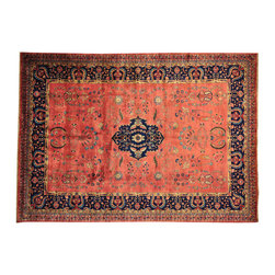 Hand Knotted Rust Red Sarouk Fereghan Rug Revival New Zealand Wool 9x13 SH14631 - This collection consists of fine knotted rugs.  The knots per square inch means more material in the rug as well as more labor.  This leads to a finer rug and a more expoensive rug.  Classical and traditional persian motifs are usually used as designs in these rugs.