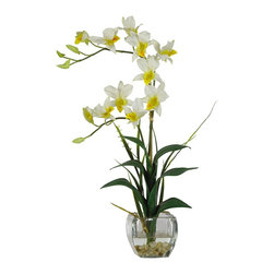 Nearly Natural - Dendrobium with Glass Vase Silk Flower Arrang - Not for outdoor use. Stems arching gracefully over lifelike leaves. Accented with river rocks, anchored with bamboo. Artificial water set in a beautiful glass vase. Included container size: 4 in. W X 4 in. H16 in. W X 8 in. D X 22 in. H (4lbs). Arching gracefully over natural stems and lifelike leaves, our Dendrobrium arrangement would be an elegant addition to any home or office decor. The whimsical orchid blooms skip along twining stems and create a gentle, refined design statement. A liquid illusion-filled glass vase perfectly finishes this beautiful arrangement.