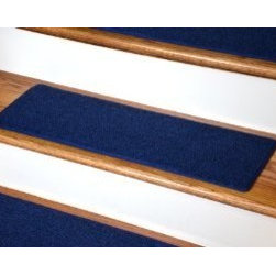 "Dean Flooring Company - Dean DIY Carpet Stair Treads 23"" x 8"" - Navy Blue - Set of 13 - Dean DIY Carpet Stair Treads 23"" x 8"" - Navy Blue - Set of 13 Plus Double-Sided Tape : Quality, Stylish Carpet Stair Treads by Dean Flooring Company Extend the life of your high traffic hardwood stairs. Reduce slips/increase traction (your treads must be attached securely to your stairs). Cut down on track-in dirt. Great for pets and pet owners. Helps your dog easily navigate your slippery staircase. 100% Polypropylene. Set includes 13 carpet stair treads PLUS one roll of double-sided carpet tape for easy, do-it-yourself installation. Each tread is bound around the edges. No bulky fastening strips. You may remove your treads for cleaning and re-attach them when you are done. Add a touch of warmth and style and a fresh new look to your stairs today with new carpet stair treads from Dean Flooring Company! This product is designed, manufactured, and sold exclusively by Dean Flooring Company."