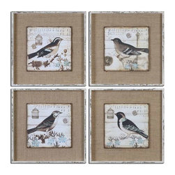 Uttermost - Uttermost Black and White Birds Art Set of 4 - 55008 - Each piece is hand painted by accomplished artisans and may vary slightly in finish.