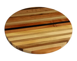 Circle Goods Reclaimed - Lazy Susan Butcher Block - Innovative design, stately stripes of natural hardwoods, and a perfectly round shape make this lazy susan butcher block a stylish choice for your kitchen. Hand finished and replete with lazy susan hardware, this butcher block is just waiting for you to take it for a spin. Each is unique.