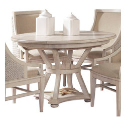 American Drew - American Drew Americana Home Artisan's Round Table in Weathered White - Americana Home is a casual, life style grouping with an eclectic mix of design elements and materials. This collection is truly inspired by American and iconic destinations from coast to coast. Americana Home captures design elements from country, lodge, cottage, coastal and even more urban loft/industrial looks. This unique collection brings a sense of timeless and comfortable places that span from the coast to the mountains of America. The Neutral pallet offered by the simplistic styling and casual finish allow this collection to take own many design trends and consumer's personal flavor. Americana Home will be at home in almost any setting.