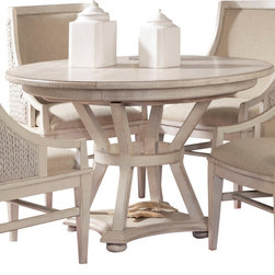 American Drew - American Drew Americana Home Artisan's Round Table in Weathered White - Artisan's Round Table in Weathered White belongs to Americana Home Collection by American Drew Americana Home is a casual, life style grouping with an eclectic mix of design elements and materials. This collection is truly inspired by American and iconic destinations from coast to coast. Americana Home captures design elements from country, lodge, cottage, coastal and even more urban loft/industrial looks. This unique collection brings a sense of timeless and comfortable places that span from the coast to the mountains of America. The Neutral pallet offered by the simplistic styling and casual finish allow this collection to take own many design trends and consumer's personal flavor. Americana Home will be at home in almost any setting. Table Base (1), Table Top (1)