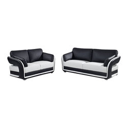 Global Furniture USA - UA189 White & Black Bonded Leather Three Piece Sofa Set - The UA189 sofa set will add a stylish modern look to any decor it's placed in. This sofa set comes upholstered in a beautiful two-tone black and white bonded leather in the front where your body touches. Skillfully chosen match material is used on the back and sides where contact is minimal. High density foam is placed within the cushions for added comfort. Each piece features a unique open arm design that adds to the overall modern look. The price shown includes a sofa, loveseat, and chair only.