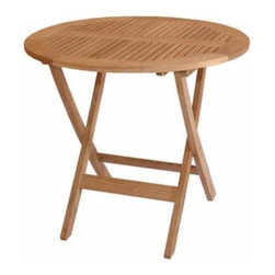 """Anderson Teak - Windsor 31-inch Round Picnic Folding Table - The Windsor 31"""" Round Picnic Folding Table features an easy fold table which great for portability and storage. Easy to carry design with handle and can be fold completely flat. This feature enables many chairs to fold and stack together when not in use. It is perfect for boating, restaurant, and caf_ where space is limited or the chairs are only required occasionally."""