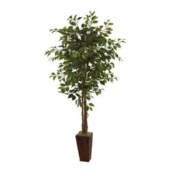 Nearly Natural - 6' Ficus Tree with Bamboo Planter - Long a favorite of nature lovers everywhere, the Ficus is almost the perfect tree. It has a classic 'forest tree' look, with stout trunks and a full, leafy burst of green that says 'welcome to the woods'. But of course, you'll be bringing the woods indoors to your home or office. Best of all, no snakes, no bears, and you won't even have to water this beauty. Comes complete with a pretty bamboo planter.