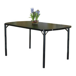 Cramco - Cramco Ebony Bow-End Black Top Dining Table, 48 Inch - Features: