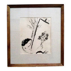 """Chagall - Maeght Gallery Paris - Consigned Marc Chagall Original Lithograph - """"Bouquet with Hand"""" 1957. Grab something masterful for your wall. From the Gallery Maeght in Paris, an original lithograph by Marc Chagall (1887-1985). Wooden frame, under glass, backed, matted. Frame measures 14.5"""" x 13.25"""". Image displayed is 7.5"""" x 8.5"""" Tag on back reads: Bouquet with Hand Original Litho 16-298 Gallery Maeght - Paris. Black on white paper. Labeled on back."""