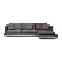 sohoConcept - Simena Sectional (Grey Cotton Fabric) - Fabric: Grey Cotton FabricSectional sofa with very comfortable cushions and frame on continuous tubular metal base which has cylindrical chromed steel legs tipped with plastic glides. Sofa has solid pine wood frame. The loose removable cushions are zippered and filled with down and feather. Frame is upholstered with velcro enclosed slip cover. Suitable for both residential and commercial use. Pictured in Brown Cotton Fabric. 124 in. L x 68 in. W x 26 in. H, Seat Height: 15 in.