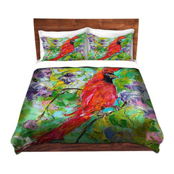 DiaNoche Designs - Duvet Cover Microfiber by Karen Tarlton - Cardinal - DiaNoche Designs works with artists from around the world to bring unique, artistic products to decorate all aspects of your home.  Super lightweight and extremely soft Premium Microfiber Duvet Cover (only) in sizes Twin, Queen, King.  Shams NOT included.  This duvet is designed to wash upon arrival for maximum softness.   Each duvet starts by looming the fabric and cutting to the size ordered.  The Image is printed and your Duvet Cover is meticulously sewn together with ties in each corner and a hidden zip closure.  All in the USA!!  Poly microfiber top and underside.  Dye Sublimation printing permanently adheres the ink to the material for long life and durability.  Machine Washable cold with light detergent and dry on low.  Product may vary slightly from image.  Shams not included.
