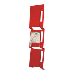 Blu Dot - Blu Dot Wall Mount Magazine Rack, Fire Engine Red - If you can fold, you can be organized. From flat to fabulous in no time. Each piece is available in gun metal, fire engine red and white. Think of it as functional origami without  papercuts.