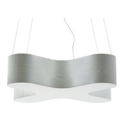 LZF - X-Club Suspension by LZF - The LZF X-Club Suspension designed by Burkhard Dammer can be playful or serene, and is suitable for private and contract spaces.  X-Club provides both warm ambient light created by the glowing veneer surround, and good downlighting for tabletops and work spaces.  The X-Club Suspension features Natural wood veneer in a variety of colors.LZF Lighting from Spain, offers contemporary, designer lighting for residential and commercial interiors. Initially specializing in lighting crafted from wood veneers, LZF has expanded its product line to include other materials well-suited to contemporary styles.The LZF X-Club Suspension is available with the following:Included Features:Natural wood veneer shade.Opal perspex diffuser.Nickel ceiling canopy.Cable supports.72 in. Clear cord.UL Listed.Designed by Burkhard Dammer.Options:Shade: American White, Beech, Cherry, Green, Grey, Orange, Red (shown), or Yellow.Size: Large, or Small (shown).Lighting:Large option utilizes two 21 Watt 120 Volt Type T5 Fluorescent lamps (included).Small option utilizes two 14 Watt 120 Volt Type T5 Fluorescent lamps (included).Shipping:This item usually ships in 6-8 weeks.