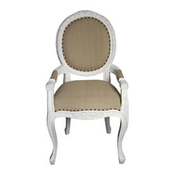 Isabelle Dining Armchair, Whitewash - Every real Parisian home has several comfortable seating options. This chair is a classic style that can live at the dining table or be used for simply sitting.