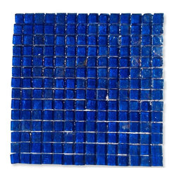 "GlassTileStore - Gaby Abyss Square Glass Tiles - Gaby Abyss Square Glass Tile             Add a happy bursts of color to any room with this beautiful glass tile. This colorful design will give your kitchen, bathroom or any decorated room a bright, fresh look.This material is plastic faced mounted up. See Installation tab for further installation information.           Chip Size: 1x1   Color: Blue   Material: Glass   Finish: Polished    Sold by the Sheet - each sheet measures 12"" x 12"" (1 sq. ft.)   Thickness: 8mm            - Glass Tile -"