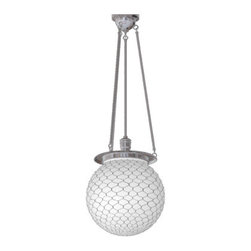 "Classic Globe Chandelier - This period basic fixture is a great way to make a bold yet simple statement. Globe size changes the look: choose the 12"" for a schoolhouse approach, the 14"" for a versatile style, or the 18"" to create a focal point that looks anything but basic. The globe shown has a wire net, which we first saw in the 1908 Western Electric catalog, originally designed to catch the glass of a broken light—an important feature in high-traffic work areas. Now it provides period authenticity and texture. The Hood is based on several fixtures made between 1910 and 1920 by the F.W. Wakefield Brass Company of Vermilion, Ohio."