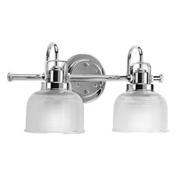 Progress Lighting - Progress Lighting P2991-15 2-Light Bathroom Lighting Fixture - Progress Lighting P2991-15 2-Light Bathroom Lighting Fixture with Clear Double Prismatic Glass Shades