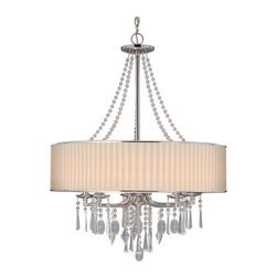 Golden Lighting - Echelon 5 Light Chandelier - Echelon Chandelier is available in a Chrome finish with a Bridal Veil or Tuxedo shade. Available as a 3 or 5 Light or a 2 Tier.  Also available as a mini pendant, semi flush mount, wall sconce and bath bar.   60 watt, 120 volt B10/Candelabra base Incandescent lamps are required but not included. 3 Light: 21 inch width x 29 inch height. 5 Light:  26.25 inch width x 34 inch height.  2 Tier: 32 inch width x 44.25 inch height.  UL Listed