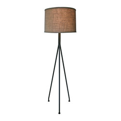 Kathy Kuo Home - Bevan Industrial Loft Modern Burlap Shade Tripod Floor Lamp - Simplicity lights the way with an industrial-mod tripod lamp. The wrought iron base and burlap drum shade complement a wide range of backdrops and at close to six feet tall, this floor lamp becomes a loft-friendly solution to your need for task or accent lighting in spaces with high ceilings and open floor plans. Create a cozy reading nook or fill a dark empty corner with warm vintage industrial ambience.